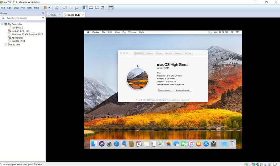 Mac OS X High Sierra 10.13 VM in VMWare Workstation 14