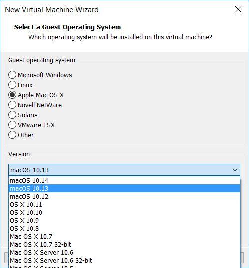 Mac OS X High Sierra 10 13 VM in VMWare Workstation 14
